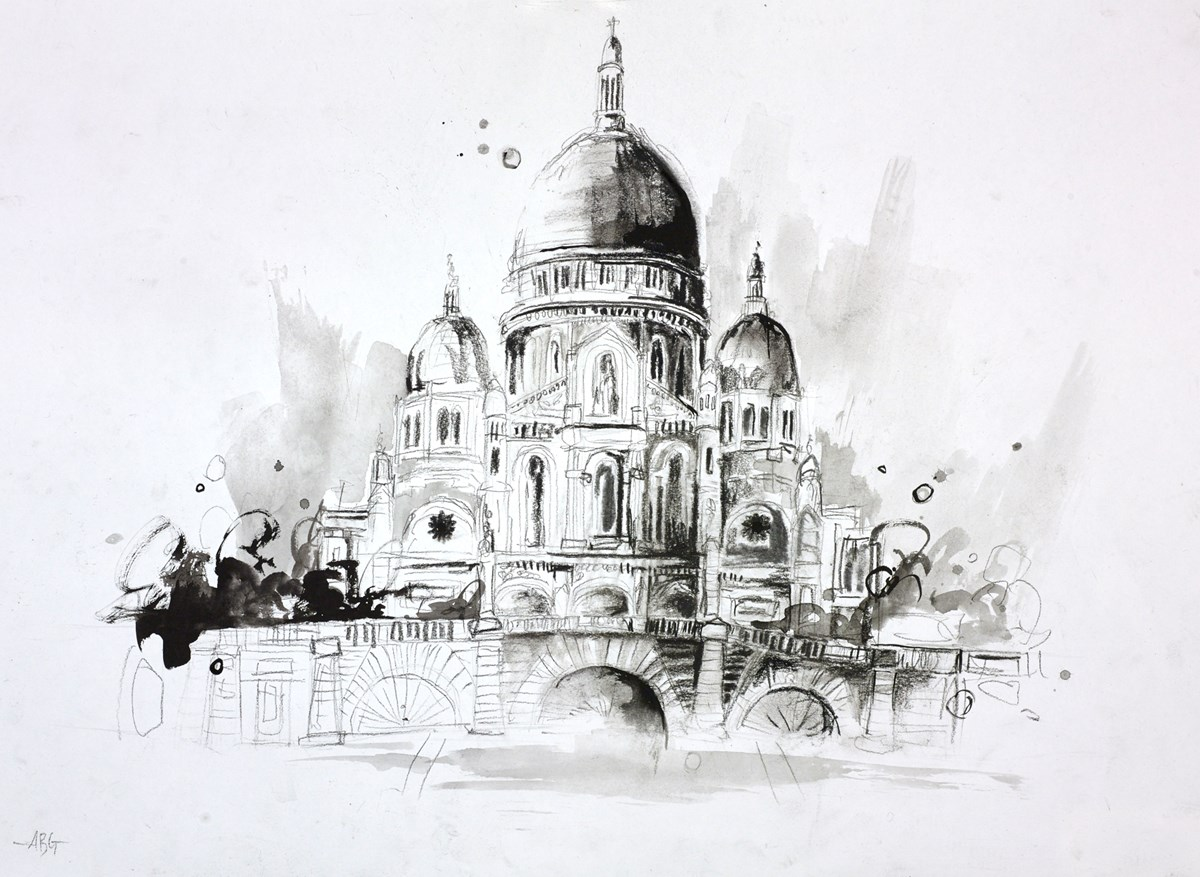 Sacre Coeur, Paris Sketch by anna gammans -  sized 16x12 inches. Available from Whitewall Galleries